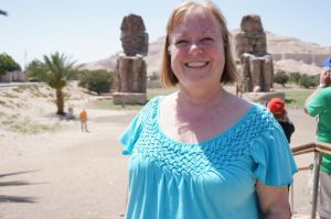 Jo at Amenhotep III statues